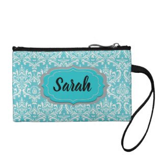 Monogram Damask Coin Clutch