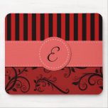 Monogram - Damask, Ornaments, Swirls - Red Black Mouse Pad