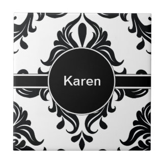 Monogram Damask Pattern Tile