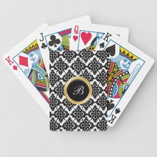 Monogram Damask Personalized Playing Cards