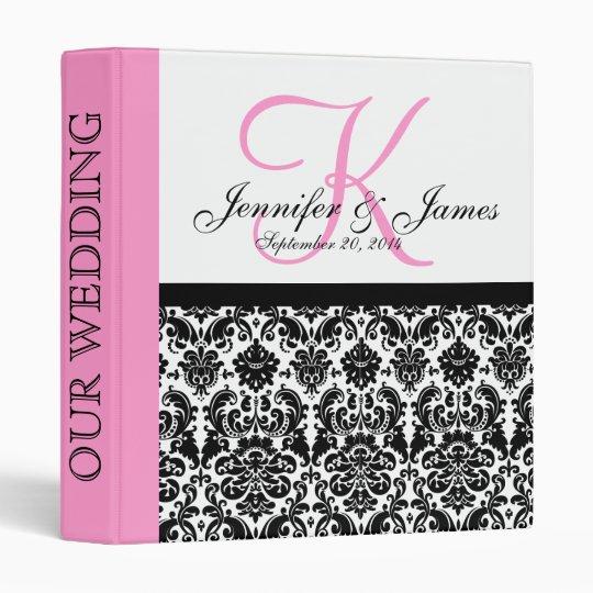 Monogram Damask Pink Wedding Planner 3 Ring Binder