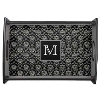 Monogram Damask Serving Tray