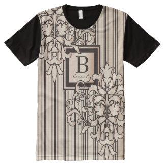 Monogram Damask Stripes Girly Neutral Monochrome All-Over-Print T-Shirt