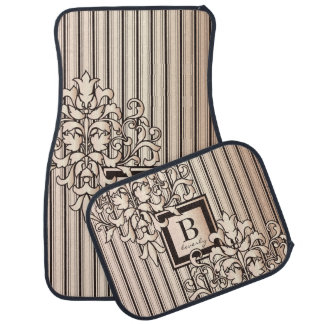 Monogram Damask Stripes Girly Neutral Monochrome Car Mat