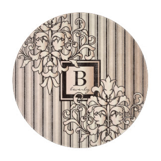 Monogram Damask Stripes Girly Neutral Monochrome Cutting Board