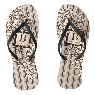 Monogram Damask Stripes Girly Neutral Monochrome Flip Flops