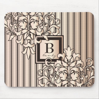 Monogram Damask Stripes Girly Neutral Monochrome Mouse Pad