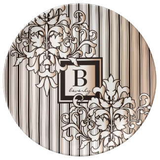 Monogram Damask Stripes Girly Neutral Monochrome Porcelain Plates