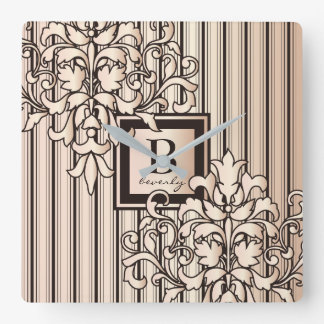 Monogram Damask Stripes Girly Neutral Monochrome Square Wall Clock