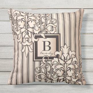 Monogram Damask Stripes Girly Neutral Monochrome Throw Pillow