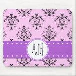 Monogram - Damask, Swirls - Pink Black Purple Mouse Pad