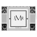 Monogram Damask Thank You Greeting Card