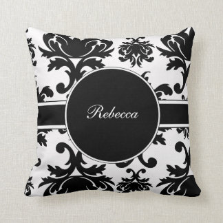 Monogram Damask Throw Pillow