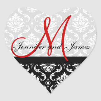 Monogram Damask Wedding Favour Stickers Red