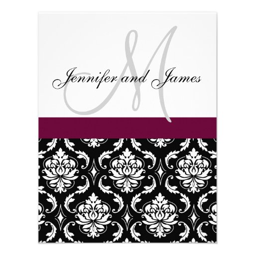 Monogram Damask Wedding Invitation Wine Red