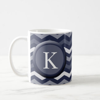 Monogram Dark Blue Chevron Zig Zag Pattern Coffee Mug