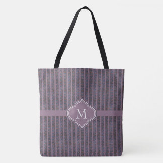 Monogram Dark Blue Lavender Rust Waves and Stripes Tote Bag