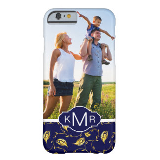 Monogram | Dark Blue Peacock Pattern Barely There iPhone 6 Case