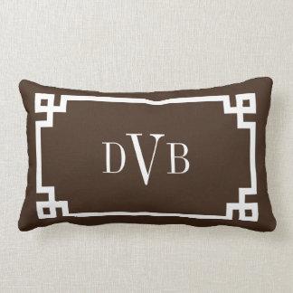 Monogram Dark Brown Greek Key Border Lumbar Pillow