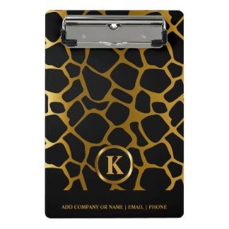 Monogram Dark Gold and Black Giraffe Pattern