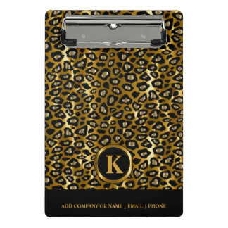 Monogram Dark Gold and Black Leopard Pattern Mini Clipboard