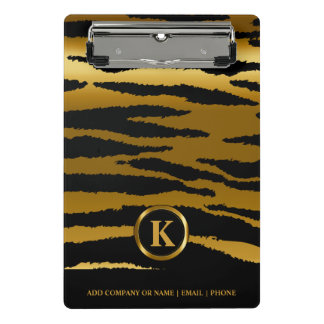 Monogram Dark Gold and Black Zebra Stripes Mini Clipboard