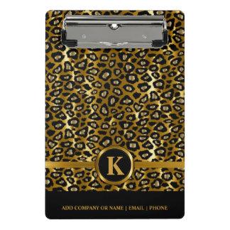 Monogram Dark Gold & Black Leopard Pattern Mini Clipboard