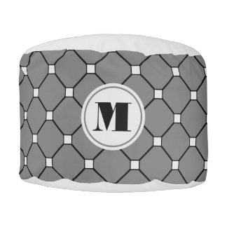 Monogram Dark Gray Diamond Pouf
