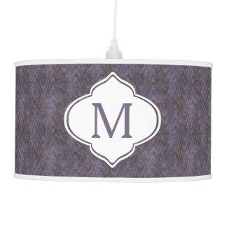 Monogram Dark Purple Grunge Waves Hanging Lamps