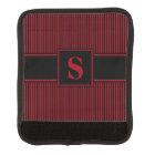 Monogram Dark Red Black Pinstripes Luggage Handle Wrap