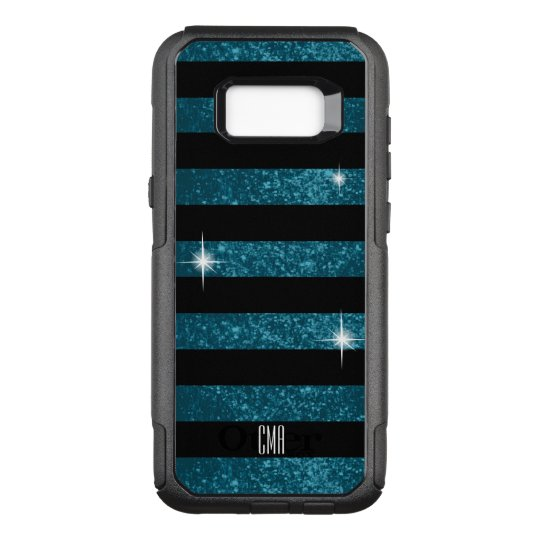 Monogram -Dark Teal Faux Glitter & Black Stripes OtterBox Commuter Samsung Galaxy S8+ Case