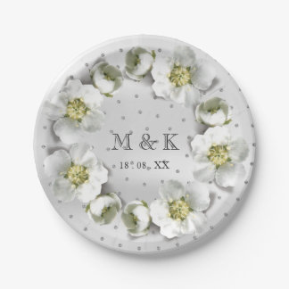 Monogram Date  Silver Gray Crystals Floral Wreath Paper Plate