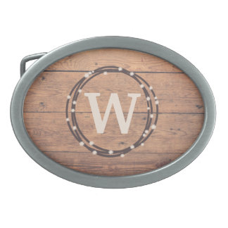Monogram design belt buckles