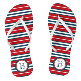 Monogram design flip flops