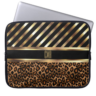 Monogram Design |  Gold Stripes and Leopard Skin Laptop Sleeve