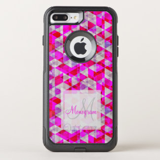 Monogram Design on Bright Pattern OtterBox Commuter iPhone 8 Plus/7 Plus Case