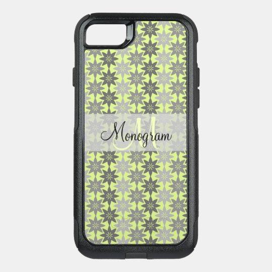 Monogram Design on Floral Pattern OtterBox Commuter iPhone 7 Case
