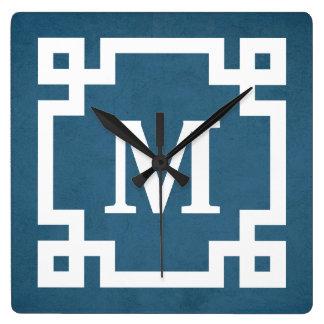 Monogram design square wall clock