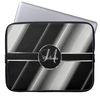 Monogram Diagonal Stripe with Silver Accent Laptop Sleeve