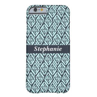 Monogram Diamond Geometric Pattern Aqua and Navy Barely There iPhone 6 Case