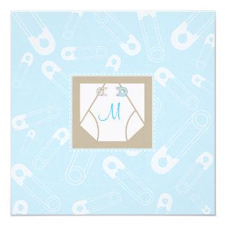 Monogram Diaper and Pins Baby Shower Invitation