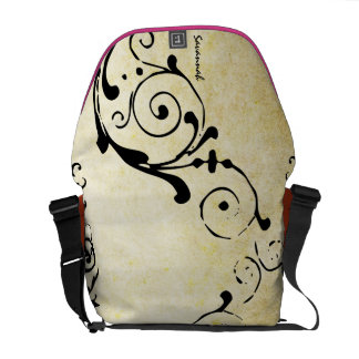 Monogram Distressed Grunge Black Swirl Pattern Courier Bags