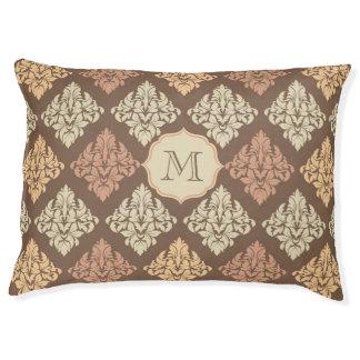 Monogram dog bed Beige brown damask pattern Large Dog Bed