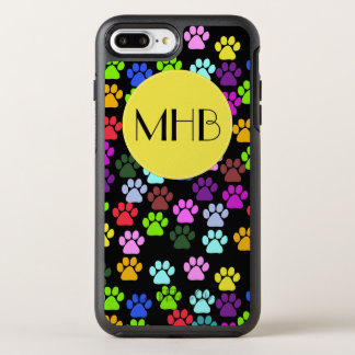 Monogram - Dog Paws, Traces - Red Blue Green OtterBox Symmetry iPhone 8 Plus/7 Plus Case