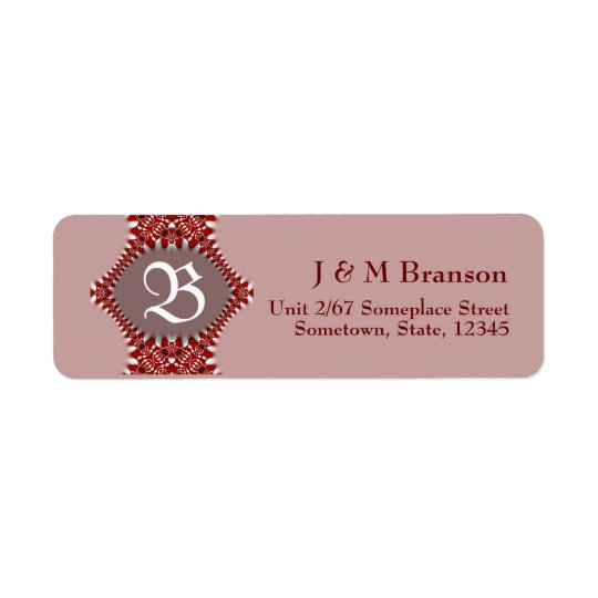 Monogram Dusky Pink + Red Lace Address Label