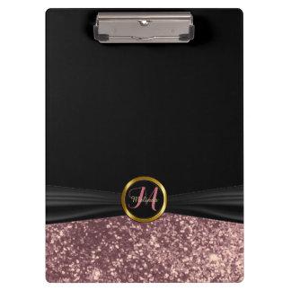 Monogram Dusty Rose Glitter  Design Clipboard
