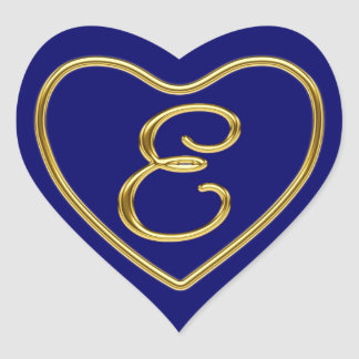 Monogram E in 3D gold Heart Stickers