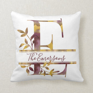 Monogram E - Watercolor - Personalized Throw Pillow