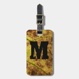 Monogram Earthy Yellow and Brown Leaf Macro Image Bag Tag