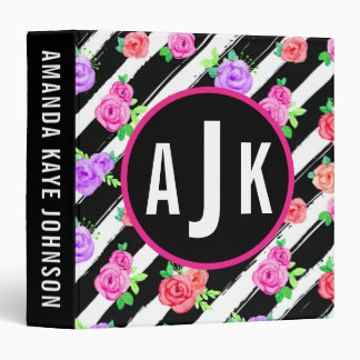 Monogram Edgy Roses & Modern Stripes Custom 3 Ring Binders